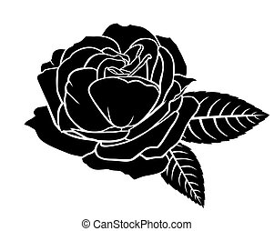 fleur, rose, silhouette