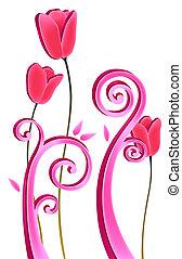 fleur, rouges, vignes