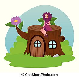 fleur, séance, maison, tronc arbre, fée