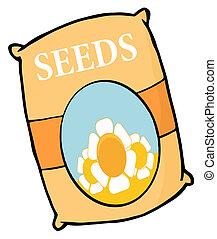fleur, sac, graines