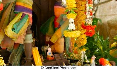 fleur, san, coloré, bois, gardien, bouddhiste, house.,...