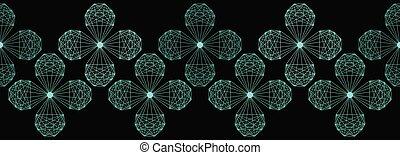fleur, seamless, forme., cristal, vecteur, répéter, géométrique, frontière