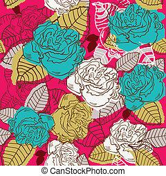 fleur, seamless., rose, résumé, illustration, vecteur