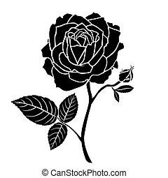 fleur, silhouette, bourgeon rose