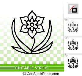 fleur, simple, vecteur, noir, ligne, icône