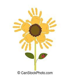 fleur, soleil, main, bébé, vecteur, impression