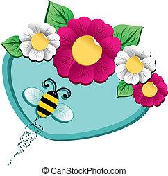 fleur source, temps, abeille