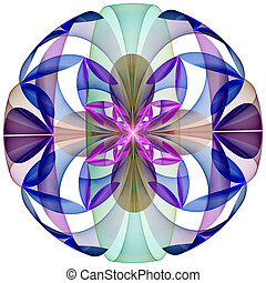 fleur, sphere., engendré, informatique, mystérieux, graphics...