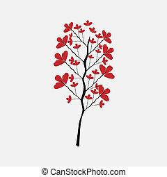 fleur, style, peinture, prune, chinois
