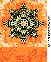 fleur, sur, stylisé, clair, arrière-plan vert, orange