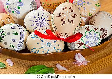fleur, table, oeufs, paques, coloré