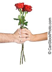 fleur, tenant mains