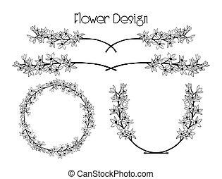 fleur, texte, cadre, couronne, vecteur, diviseur, design.