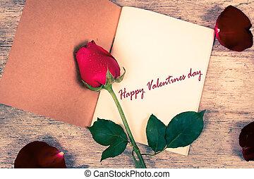 fleur, texte, valentin, cahier,  rose, jour, rouges