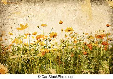 fleur, textures, vieux, papier