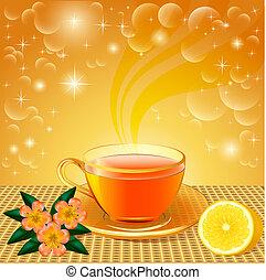 fleur, thé, fond