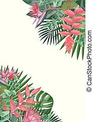 fleur tropicale, angulaire, fond