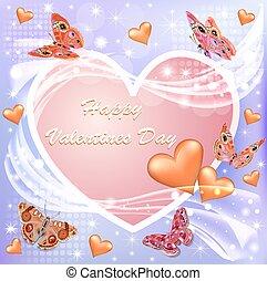 fleur, valentine, illustration, papillons, jour, carte, heureux