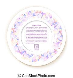 fleur, ve, applique, texture, arrière-plan., papier, blanc, rond