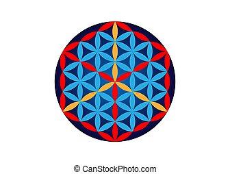 fleur, vecteur, blanc, religion, fond, alchimie, isolé, cube., sacré, symbole, metatrons, géométrie, vie, spirituality.
