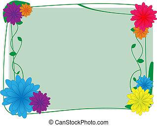 fleur, -, vecteur, fond, frontière, lierre