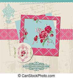 fleur, vendange, cadre, -, vecteur, conception, carte, photo, album, éléments