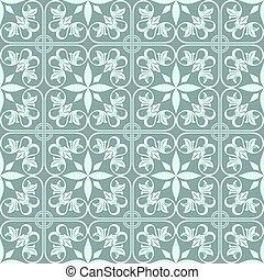 fleur, vendange, résumé, pattern., seamless, vecteur, vert