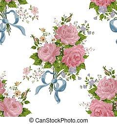 fleur, vendange, rose, vecteur, modèle fond, blanc