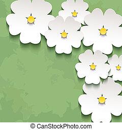 fleur, vendange, sakura, fond, floral, 3d
