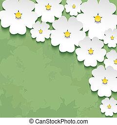 fleur, vendange, vert, sakura, fond, floral, 3d