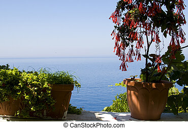 fleuri, mer égée, balcon