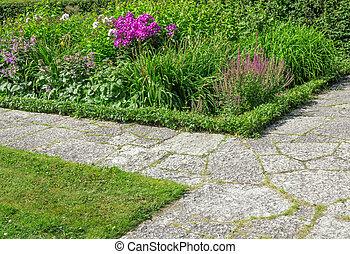 fleurir, chemins, jardin pierre