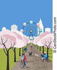 fleurir, loisir, vecteur, ville, activité, parc, affiche