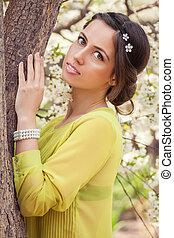fleurir, printemps, portrait, femme, arbre, jeune