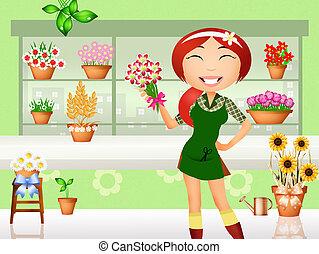 Illustrations de fleuriste 8 497 images clip art et - Fleuriste dessin ...