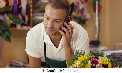fleuriste, conversation, téléphone