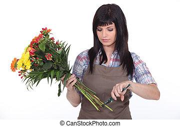 fleuriste, découpage, fleurs, fermé, tiges