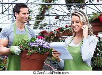 fleuriste, femme, travailler, fleur, shop.
