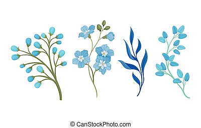 fleurs, éléments, ensemble, vecteur, feuilles, bleu, full-blown, décoratif