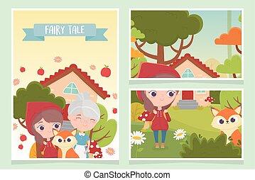 fleurs, équitation, peu, capuchon, fée, arbre, loup rouge, maison, conte, grand-maman, forêt