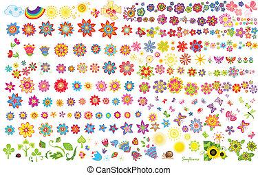 fleurs, été, papillons, soleil