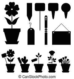 fleurs, étiquettes, ensemble, jardin