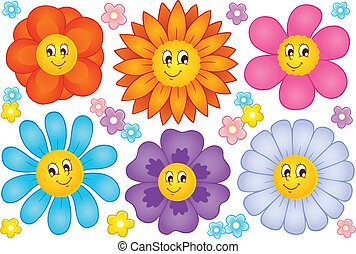 fleurs, 2, dessin animé, collection