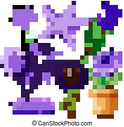fleurs, animaux, pourpre, ensemble