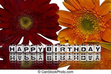 fleurs, anniversaire, jaune rouge, heureux
