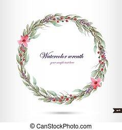 fleurs, aquarelle, couronne