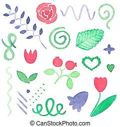 fleurs, aquarelle., flourishes, floral, ensemble, aquarelle, vecteur, conception, illustration., éléments