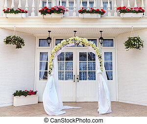 fleurs, arcade, mariage