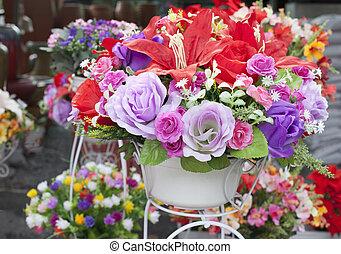 fleurs, arranger, bouquet, décoration, maison