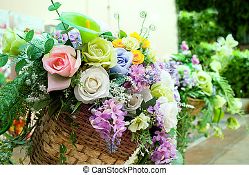 fleurs, arranger, maison, bouquet, décoration, jardin
